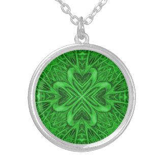 Keltisches Klee-Kaleidoskop-Silber überzogene Versilberte Kette