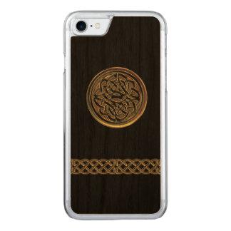 Keltisches Knoten-Schwarz-Bronzeholz Carved iPhone 8/7 Hülle