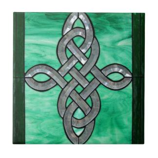 keltisches Knotengrün-Silber-Buntglas Fliese
