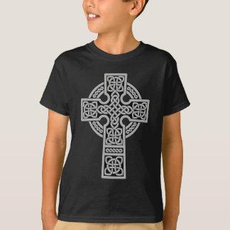 Keltisches Kreuz hellgrau und schwarz T-Shirt