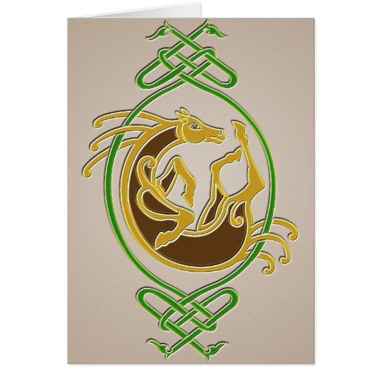 Keltisches Pferd - Farben Grußkarte