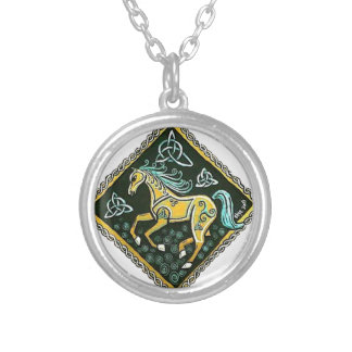 Keltisches Pferd Halskette Mit Rundem Anhänger