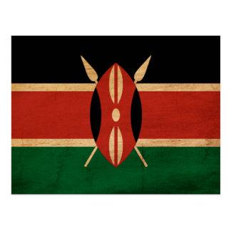 Kenia-Flagge Postkarte