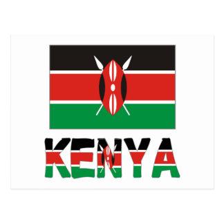 Keniaflagge u. -wort postkarte