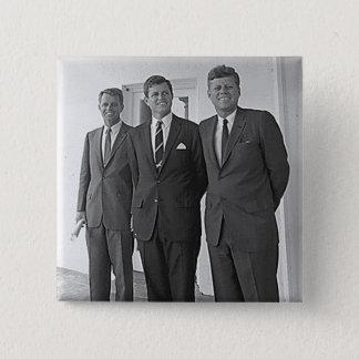 Kennedy-Brüder, John, Ted, Robert Quadratischer Button 5,1 Cm