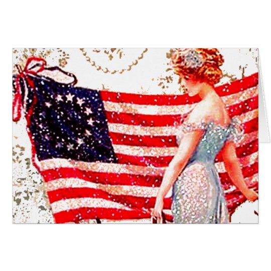 Kennzeichnen Sie patriotisches Mädchen Grußkarte