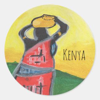 Kenyan-Frau Runder Aufkleber