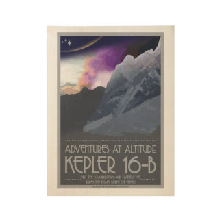 Kepler 16 b-Kunst-Deko-Raum-Plakate Holzposter