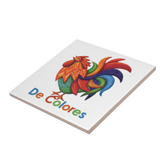 Keramik-Foto-Fliese De Colores Rooster Gallo Kleine Quadratische Fliese