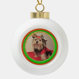 Keramik-WeihnachtshundeFoto-Verzierung Keramik Kugel-Ornament