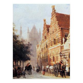 Kerkegracht en Weeshuis in Leiden durch Cornelis Postkarte