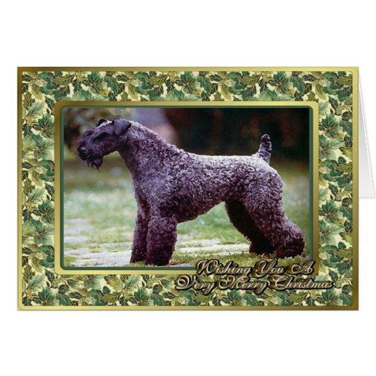 Kerry-Blau-Terrier-Hunderaum-Weihnachtskarte Grußkarte