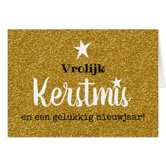 Kerstkaart glitter en glamour goud ster karte