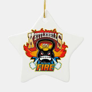 Kettlebells auf Feuer Keramik Stern-Ornament