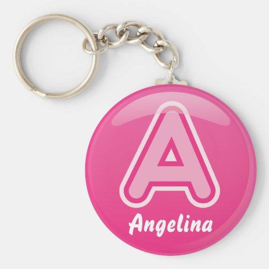 Keychain Buchstabe eine rosa Blase Standard Runder Schlüsselanhänger