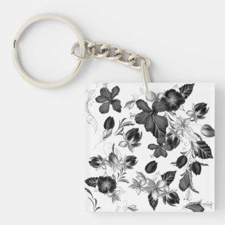 Keychain mit handdrawn Blumen Beidseitiger Quadratischer Acryl Schlüsselanhänger
