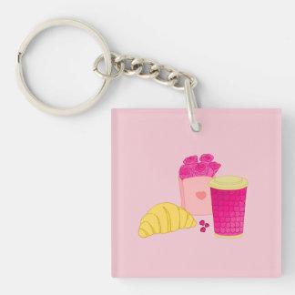 Keychain mit rosa Artfrühstücksentwurf Schlüsselanhänger