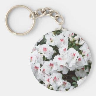 Keychain mit weißen Azaleen-Blumen-Blüten Standard Runder Schlüsselanhänger
