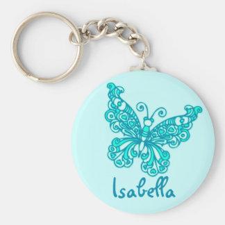 Keychain nommé bleu d'aqua de filles de papillon