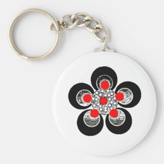 Keychain rote silberne Blume Standard Runder Schlüsselanhänger