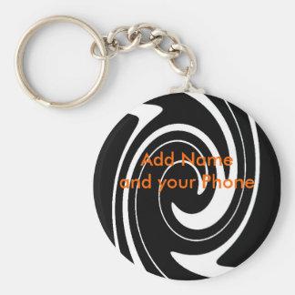 Keychain Schwarz-weißer Strudel addieren Namen und Standard Runder Schlüsselanhänger
