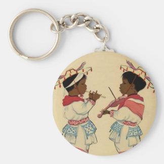 Keychain Vintage Kinder, die Musikinstrumente spie Standard Runder Schlüsselanhänger
