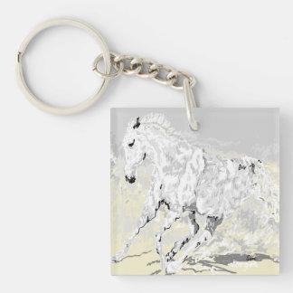 Keychain weißer Stallion in der Bewegung Schlüsselanhänger
