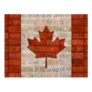 Kfz-Kennzeichen-Kunst-Flagge von Kanada Postkarte
