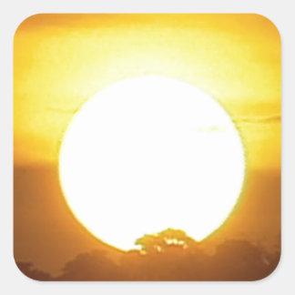kground addieren NAMENSzitat-FOTO-Sonnenuntergang, Quadratischer Aufkleber