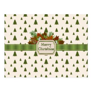 Kiefer mit frohe Weihnacht-Band Postkarte