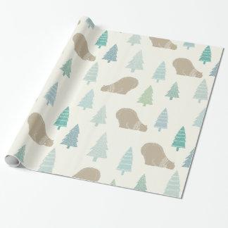 Kiefer und ein Eisbär frohe Feiertage Geschenkpapier
