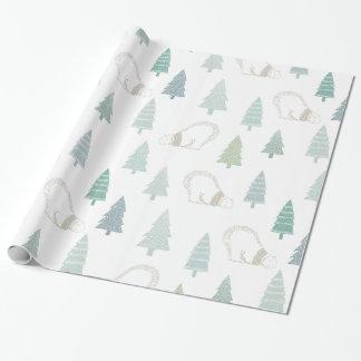 Kiefer und ein weißer Eisbär frohe Feiertage Geschenkpapier