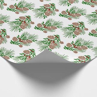 Kiefern-Ast-Kegel und Beeren Ihre Farbe Geschenkpapier