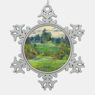 Kiefern Schneeflocken Zinn-Ornament