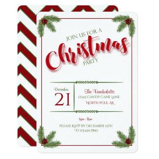 Kiefern-und Beeren-WeihnachtsParty 12,7 X 17,8 Cm Einladungskarte