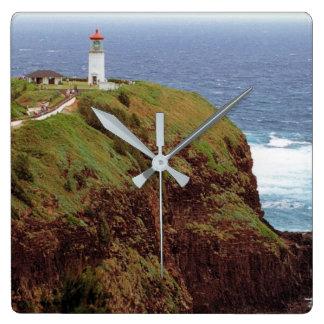 Kilauea Punkt-Leuchtturm, Kauai, Hawaii Quadratische Wanduhr
