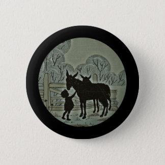 Kind, das Esel Petting ist Runder Button 5,7 Cm