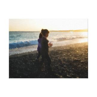 Kinder am Sonnenuntergang Leinwanddruck