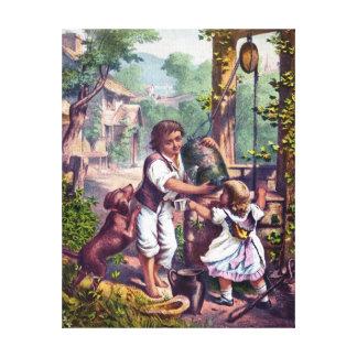 Kinder an der wohlen Vintagen Malerei Leinwanddrucke