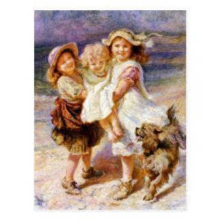 Kinder auf dem Strand Postkarte