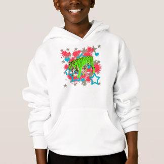 Kinder Limoner grüner Tiger und Stern-Sweatshirt Hoodie