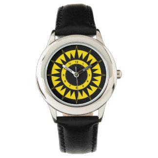 Kinder schwarz und gelber Sun Armbanduhr