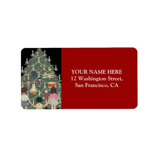 Kinder und Weihnachtsbaum - Vintage Illustration Adressetiketten