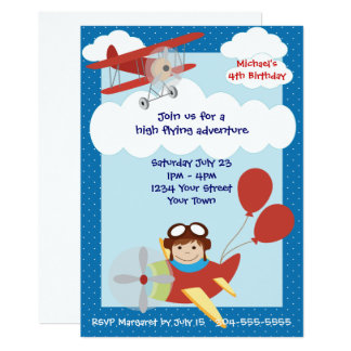 Kinderflugzeug-Geburtstags-Party Karte