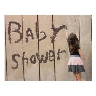 Kindergarten-Mädchen-Malerei-Zaun-Babyparty Postkarte