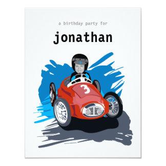 Kindergeburtstag-Einladung - Rennen-Auto 10,8 X 14 Cm Einladungskarte