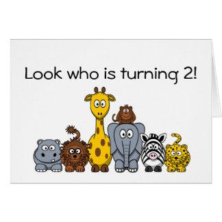 Kindergeburtstag-Party Einladungs-Dschungel-Tiere Karte
