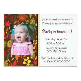 Kindergeburtstag-Party-Foto-Einladungs-Herbstlaub Karte