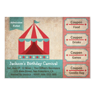 Kindergeburtstag-Party - Karnevals-Aufnahme-Karte 12,7 X 17,8 Cm Einladungskarte