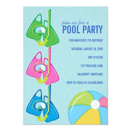 Schön Kindergeburtstag Pool Party Einladungen